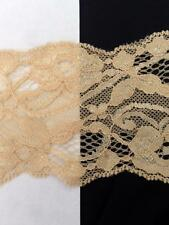 "Wholesale 2 / 10 / 50 yards Tan stretch floral scalloped lace trim 3"" s4-4a"