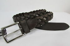 New Men Coach Thin Belt Brown Braided Casual Leather Silver Buckle Size 36 38