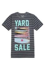 Hurley Yard Sale Graphic Tee Mens Gray Heather Striped Slim Fit T-Shirt NWT New