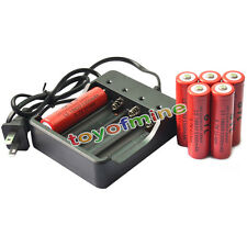 6 pcs 18650 3.7V GTL 5300mAh Li-ion Rechargeable Battery for LED Torch + Charger