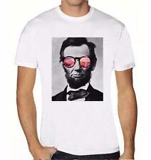 NEW MENS PRINTED ABRAHAM LINCOLN WOMEN IN GLASSES COLLEGE FUNNY HIPSTER T-SHRIT