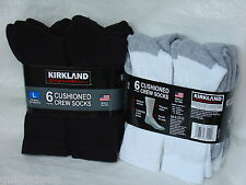 Kirkland MENS CUSHIONED CREW SOCKS 6 Pairs UK Size L 8-12 Cotton Blend New