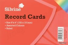 """Silvine Record Cards  6"""" X 4"""" (152 x 101 mm) Ruled Revision card Assorted Colour"""
