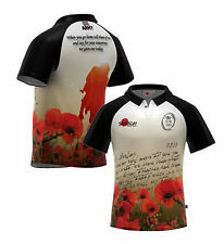 """Samurai British Army Rugby Union """"Letters"""" Poppy Rugby Shirt S-3XL remembrance"""