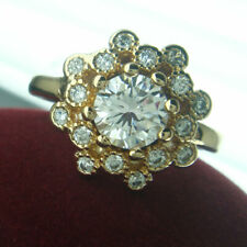 r237-Size 7 to 8  Woman's Cute White Sapphire 18K Yellow Gold Filled Ring Gift