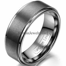 8mm Men Ladies Unisex Tungsten Carbide Matte Finish Promise Ring Wedding Band