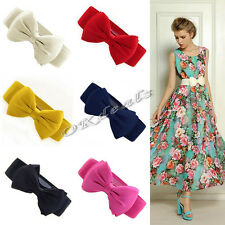 2015 Fashion Women Bowknot Elastic Bow Wide Stretch Buckle Waistband Waist Belt