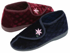 Ladies Womens Dunlop Velcro Fasten Slippers Wide Fitting Booties Size