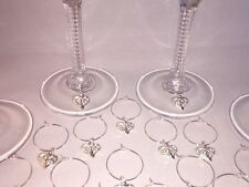 20 x Wine glass charms silver pendants all occasions homemade new party wedding