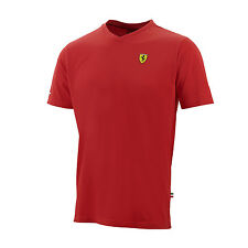 Scudetto Ferrari Official Mens Classic V-Neck T-Shirt   - Red - clearance