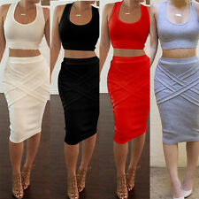 Womens Two Piece Bandage Bodycon Crop Top Skirt Set Casual Party Summer DressES