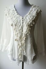 Pretty Angel Vintage Victorian Romantic Textured White Blouse--Silk blend, lace
