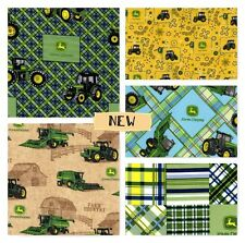 JOHN DEERE Plaid Patch Cotton Fabric Pink( BTY) or Blue  U Choose