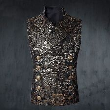 EMO GOTH STEAMPUNK dieselpunk VEST JACKET MILITARY Notched Lapel tapestry GOLD