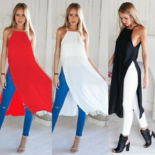 2015 Fashion Women's Sleeveless Dress Loose Blouse Casual Long Chiffon Top Shirt