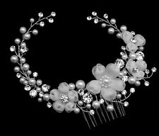 Silver Rhinestone White Pearl Organza Flower Bridal Hair Comb Wedding Accessory