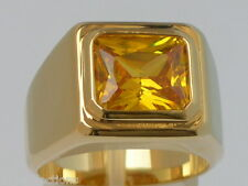 11 X 9 mm November Yellow Citrine CZ Birthstone Men's Solitaire Ring Size 8-15