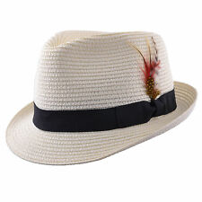 Mens Ladies Blue Packable Straw Summer Trilby  Hat With Band and  Feather New