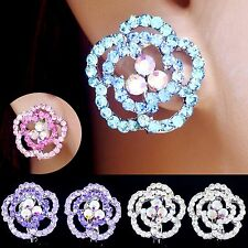 #E512C Sparkle Sexy Layer ROSE Flower Full Crystal Bridal Clip On Earrings