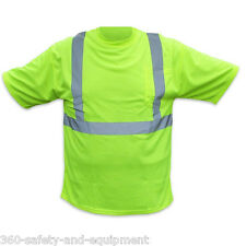 5 Pack Hi-Vis Green T-Shirts Safety Hi-Vis Green Sizes M-5XL Reflective Stripes