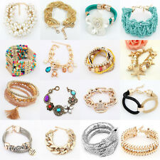 Fashion Women Lots Style Bracelet Gold Rhinestone Bangle Charm Cuff Jewelry