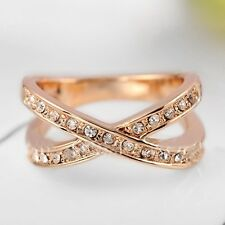 Fashion Jewelry Women Gold Plated Crystal Bridal Engagement Ring Size 5/6/7/8/9