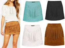 New Ladies Chic blogger Hippie Boho Hot Festival Suede Fringe Tassel Mini Skirt