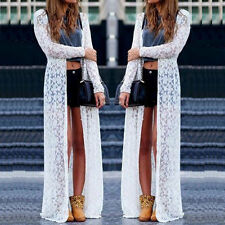 Boho Beach Sheer Lace Floral Crochet Long Cardigan Summer Tops Blouse Maxi Dress
