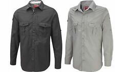 CRAGHOPPERS NOSILIFE LONG SLEEVE CASUAL TRAVEL SHIRT BLACK or PARCHMENT CMS328