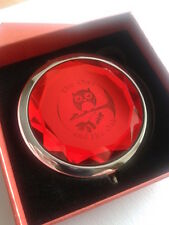 Red silver crystal owl make up mirror, sale item, great ladies gift, present,box