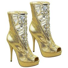 Gold Snake peep toe Pump Rhinestones Ankle Boot High Heel Women's Shoes