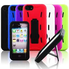 For Apple iPhone 5 Colorful Dual Layer Hybrid Hard Plastic Case Cover Stand