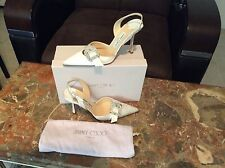 $620 Jimmy Choo White Silk GALE Rhinestone Buckle Wedding Shoes +ORIGINAL Box 38