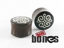 "Bare Bones Pair Organic Dark Raintree Wood Plugs 0G to 1 1/8"" [Select Your Size]"