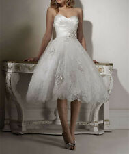 New Ball Gown Tea Length Sweetheart Custom Made Lace Wedding Dresses Bridal Gown