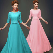 New Long chiffon Lace bridesmaid dresses plus size prom dress Maxi Evening gowns