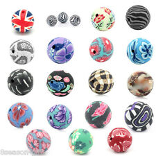 """50 PCs Polymer Clay Spacer Beads Flower Pattern Round Ball 12mm( 4/8"""") Dia.M1163"""