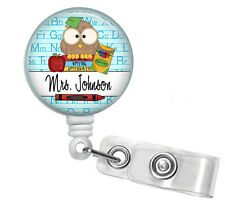 PERSONALIZED TEACHER OWL RETRACTABLE ID BADGE HOLDER LANYARD