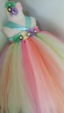 Pastels Tutu Dress Matching Headband weddings party birthday special baby-kids