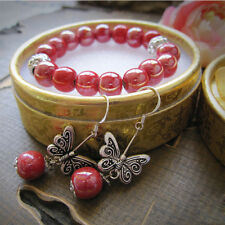 Chic Chinese Ethnic Miao Silver Handmade ceramic bead Bracelets and earrings