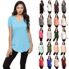 IRON PUPPY Women's S/Slv Solid Piko V-Neck MODAL Tunic Soft Casual T-Shirts Top