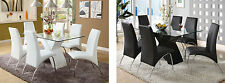 7 Pc White or Black Contemporary Dining Table Chairs Set Modern Glass Top Luxury