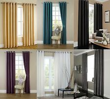 READY MADE FAUX SILK RING TOP FULLY LINED PAIR EYELET CURTAINS & TIE BACKS