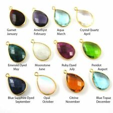 Birthstone Teardrop Charm, Bezel Gemstone Gold Plated Sterling Silver (2 Pcs)