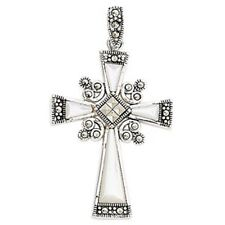 Childrens's Silver Mother Of Pearl & Marcasite Cross Pendant Necklace Kids Jewel