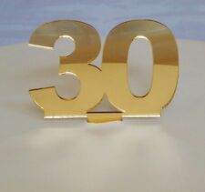 30 Cake Topper Gold 3mm Acrylic Mirror Sizes 6cm or 10cm