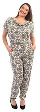 New Womens Cowl Neck Short Sleeve Alibaba Pants Floral Detail Jumpsuits 14-28