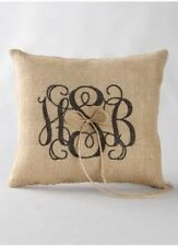 Personalized Printed Monogram Burlap Wedding Guest Book Ring Pillow Basket Unity
