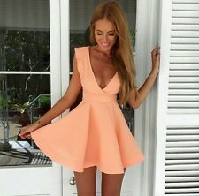 Sexy Women Cute Open Backless Plunge Vneck High Waist Prom Skater Party Dress