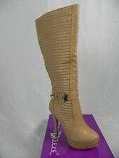 Nature Breeze NEW Light Brown Gold Buckle Stiletto Heel Knee High Boots (L1-S)